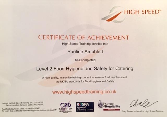 HUDSON'S GARDEN - L2 Hygiene and Safety for Catering
